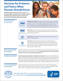 Vaccines for Preteens and Teens: What Parents Should Know